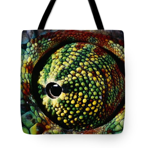 Panther Chameleon Eye Tote Bag by Daniel Heuclin and Photo Researchers