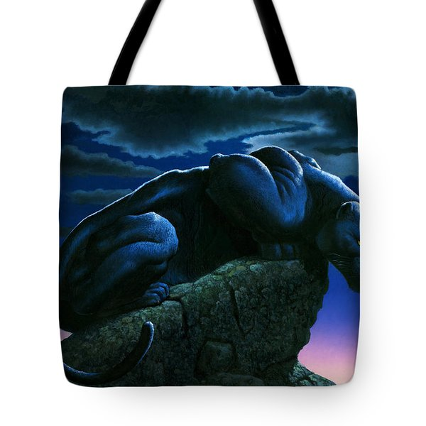 Panther On Rock Tote Bag by MGL Studio - Chris Hiett