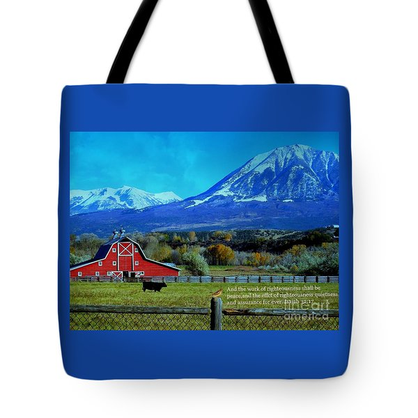 Paonia Mountain And Barn Tote Bag by Annie Gibbons