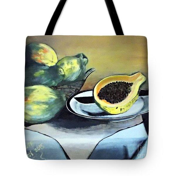 Papaya Still Life Tote Bag by Francine Heykoop