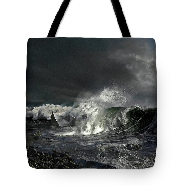 Tote Bag featuring the digital art Paper Boat by Evgeniy Lankin