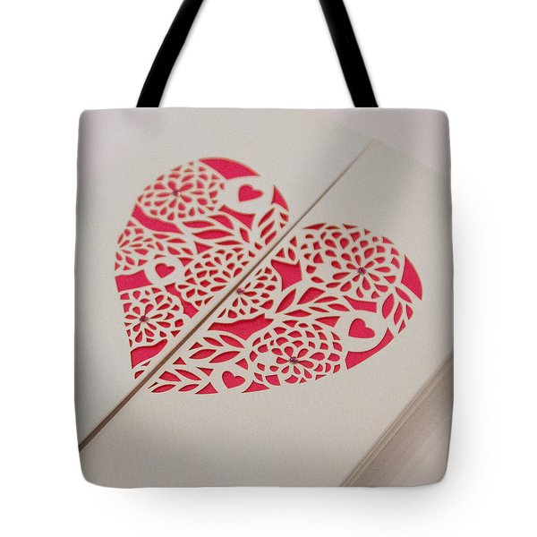 Paper Cut Heart Tote Bag