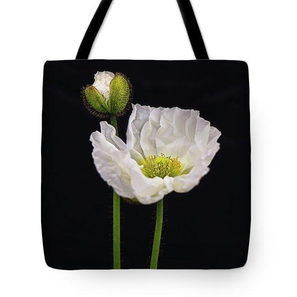 Paper White Poppy Tote Bag