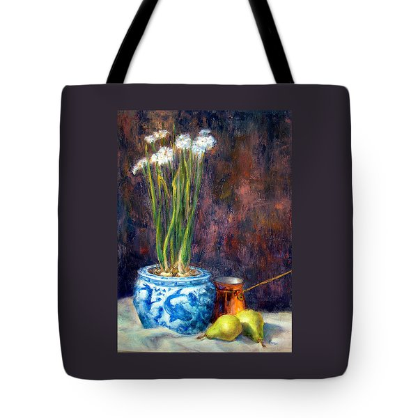Paper Whites And Pears Tote Bag