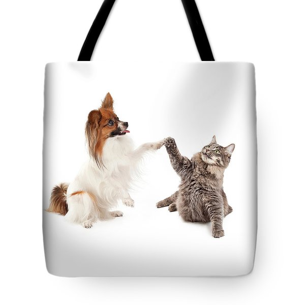 Papillon Dog And Cat High Five Tote Bag