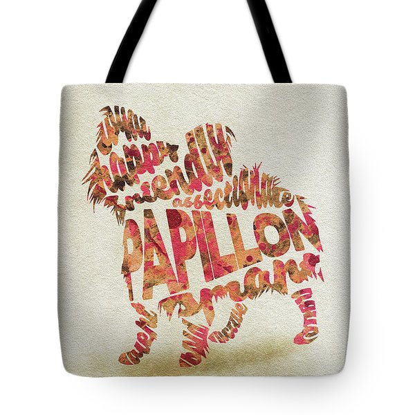 Tote Bag featuring the painting Papillon Dog Watercolor Painting / Typographic Art by Inspirowl Design