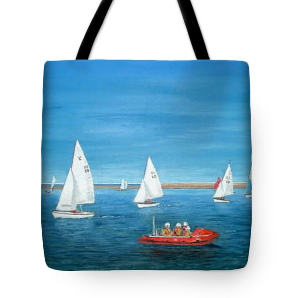 Parade Of Sail, 2009 - West Kirby Marine Lake Tote Bag by Peter Farrow