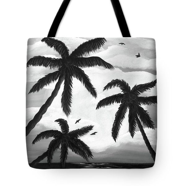 Tote Bag featuring the painting Paradise In Black And White by Teresa Wing