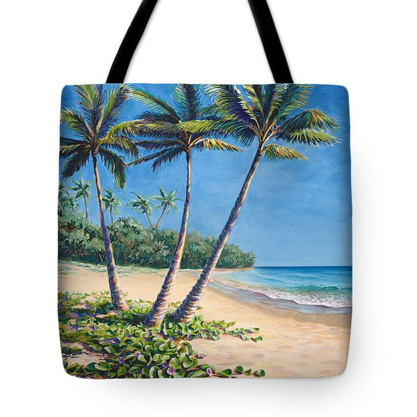 Tote Bag featuring the painting Tropical Paradise Landscape - Hawaii Beach And Palms Painting by Karen Whitworth