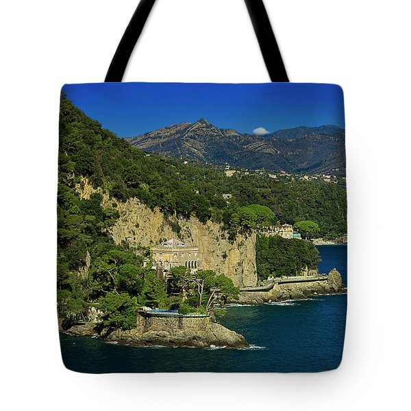 Tote Bag featuring the photograph Paraggi Bay Castle And Liguria Mountains Portofino Park  by Enrico Pelos