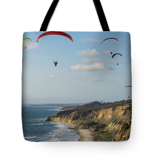 Paragliders At Torrey Pines Gliderport Over Black's Beach Tote Bag