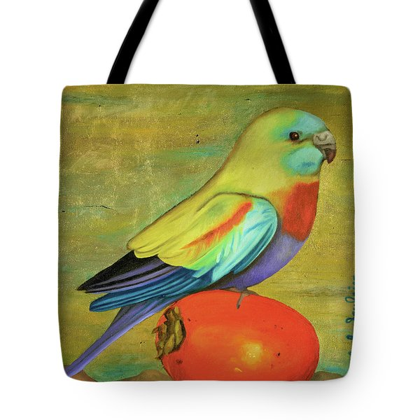 Parakeet On A Persimmon Tote Bag by Leah Saulnier The Painting Maniac