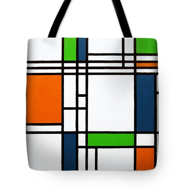 Parallel Lines Composition With Blue Green And Orange In Opposition Tote Bag