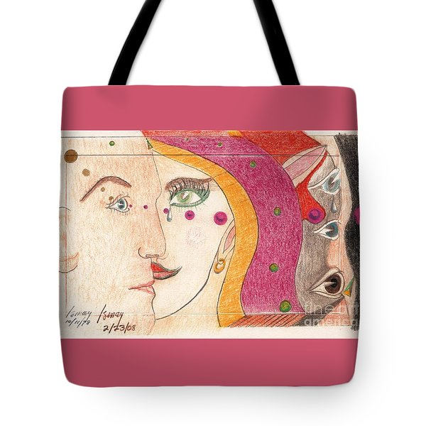 Tote Bag featuring the drawing Paranoia by Rod Ismay