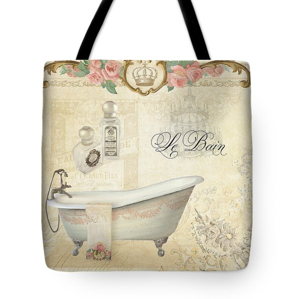 Parchment Paris - Le Bain Or The Bath Chandelier And Tub With Roses Tote Bag by Audrey Jeanne Roberts