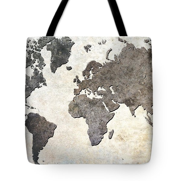 Parchment World Map Tote Bag