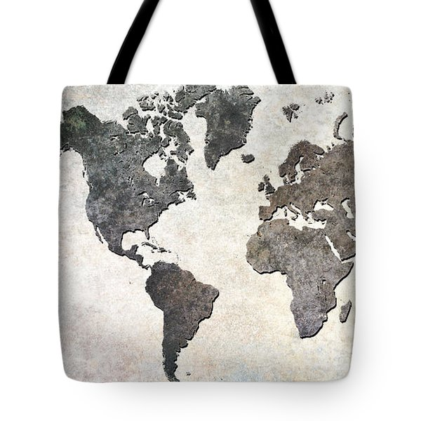Tote Bag featuring the digital art Parchment World Map by Douglas Pittman