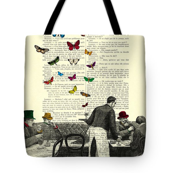 Inside Of A French Bistro At Paris And Rainbow Butterflies Tote Bag