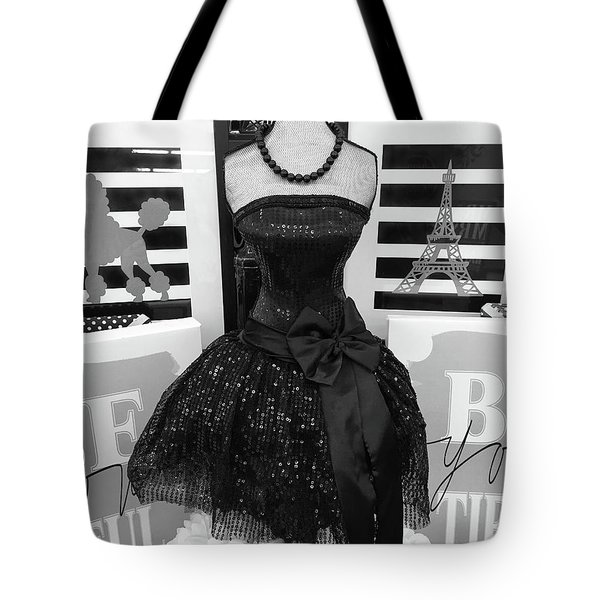 Tote Bag featuring the photograph Paris Ballerina Costume Black And White French Decor - Parisian Ballet Art Black And White Art Deco by Kathy Fornal