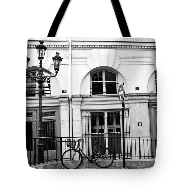 Tote Bag featuring the photograph Paris Bicycle Street Lanterns Architecture Black And White Art Deco - Paris Black White Home Decor by Kathy Fornal