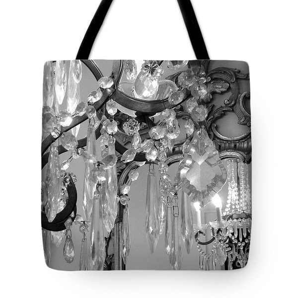 Tote Bag featuring the photograph Paris Black And White Crystal Chandelier Mirrored Wall Decor -parisian Black White Chandelier Prints by Kathy Fornal