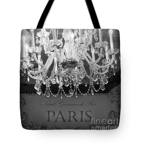 Paris Black And White Crystal Chandeliers - French Parisian Black White Crystal Chandelier Art Tote Bag