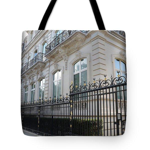 Tote Bag featuring the photograph Paris Black Iron Ornate Gate To Parc Monceau - Parisian Gates  by Kathy Fornal
