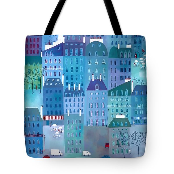 Paris Blues Tote Bag by Nic Squirrell
