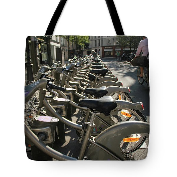 Tote Bag featuring the photograph Paris By Bike by Yoel Koskas