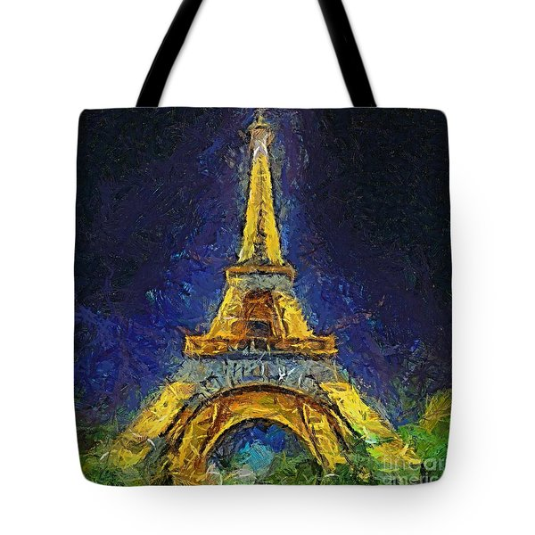 Tote Bag featuring the painting Paris By Night by Dragica  Micki Fortuna