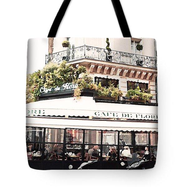Paris Cafe De Flore Famous Landmark - Paris Street Cafe Restaurant  Tote Bag