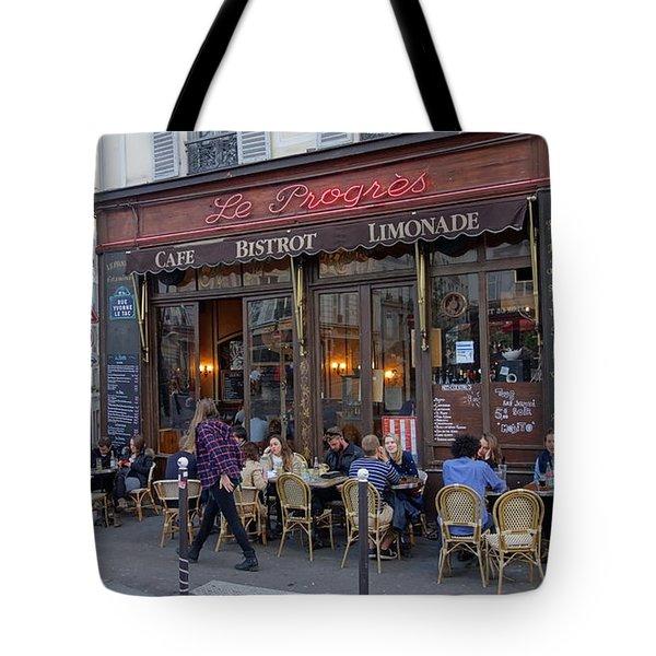 Paris Cafe Le Progres Tote Bag