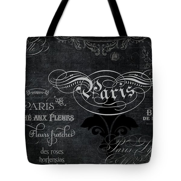 Paris Chalkboard Typography 1 Tote Bag by Audrey Jeanne Roberts