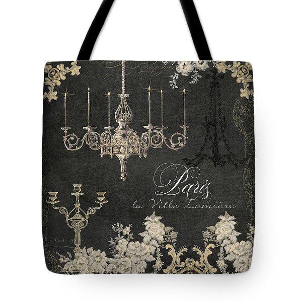 Paris - City Of Light Chandelier Candelabra Chalk Tote Bag