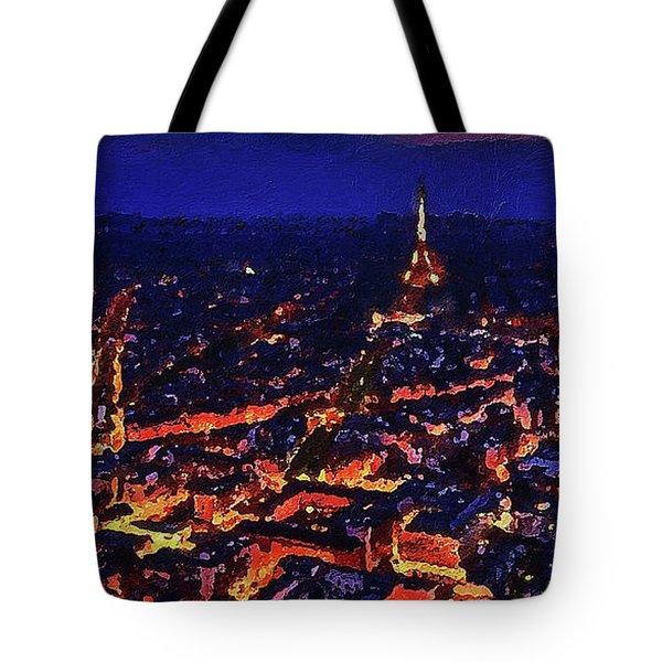 Tote Bag featuring the digital art Paris City View by PixBreak Art
