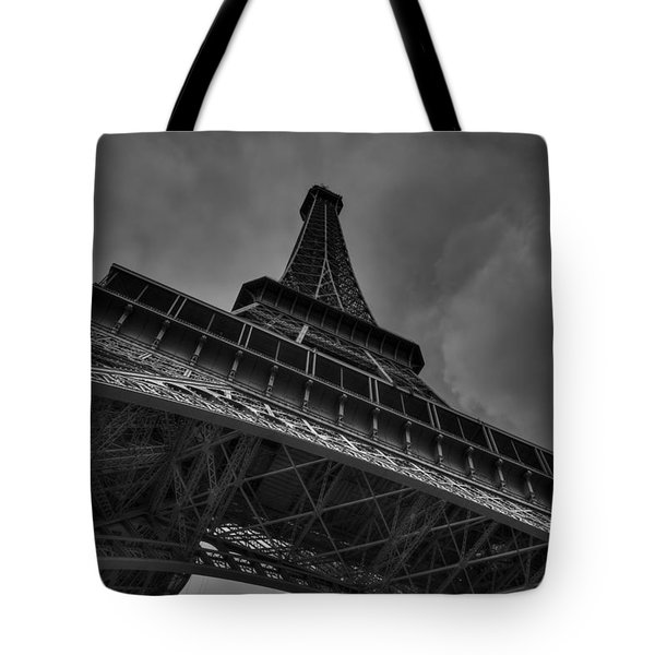 Tote Bag featuring the photograph Paris - Eiffel Tower 001 Bw by Lance Vaughn