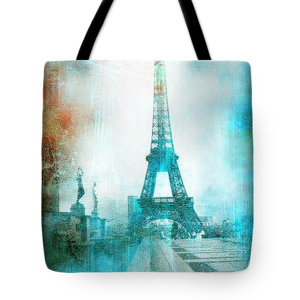 Paris Eiffel Tower Aqua Impressionistic Abstract Tote Bag by Kathy Fornal