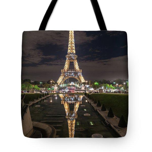 Paris Eiffel Tower Dazzling At Night Tote Bag