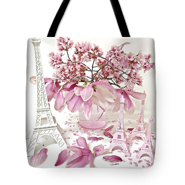 Tote Bag featuring the photograph Paris Eiffel Tower Spring Magnolia Flower Blossoms - Paris Pink White Spring Blossoms  by Kathy Fornal