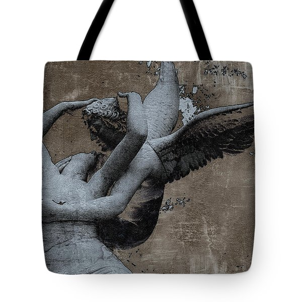 Paris Eros And Psyche - Surreal Romantic Angel Louvre   - Eros And Psyche - Cupid And Psyche Tote Bag by Kathy Fornal