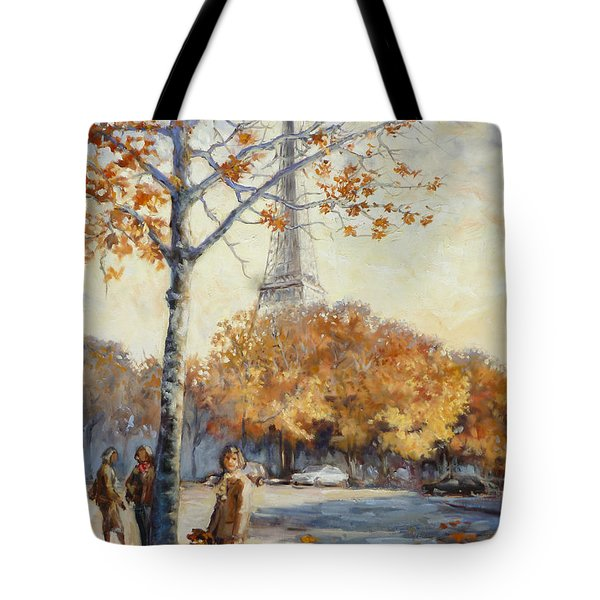Paris Fall In Trocadero Park Tote Bag