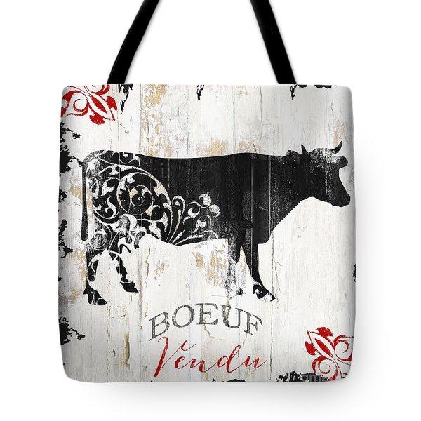 Paris Farm Sign Cow Tote Bag