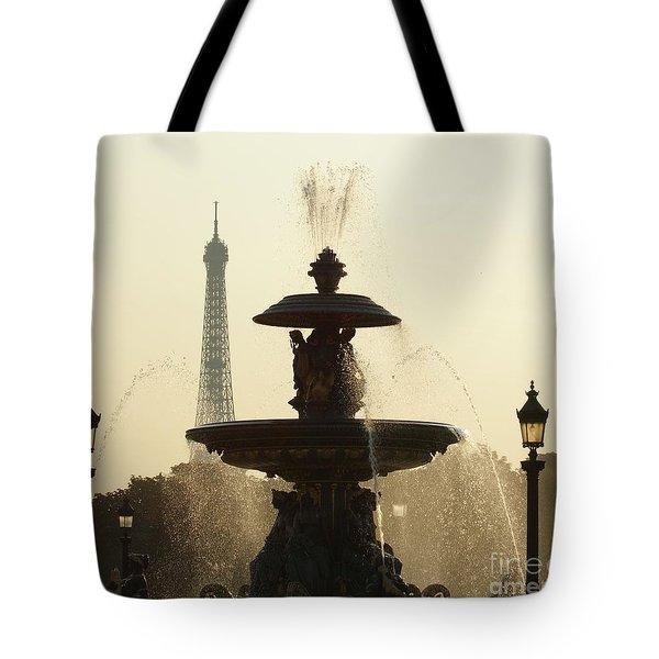 Paris Fountain In Sepia Tote Bag