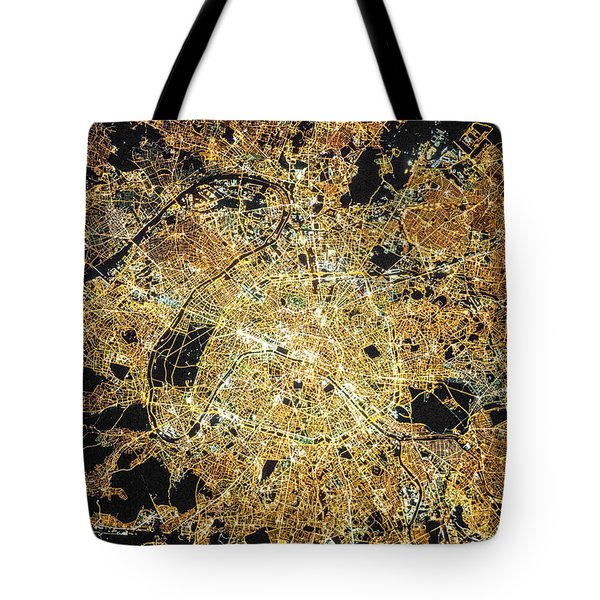 Tote Bag featuring the photograph Paris From Space by Delphimages Photo Creations