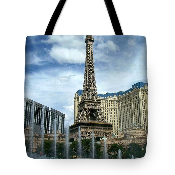 Paris Hotel And Bellagio Fountains Tote Bag