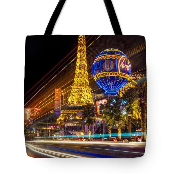 Paris In Las Vegas Strip Light Show Tote Bag