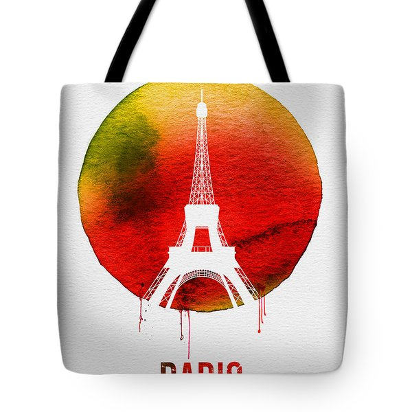 Paris Landmark Red Tote Bag by Naxart Studio