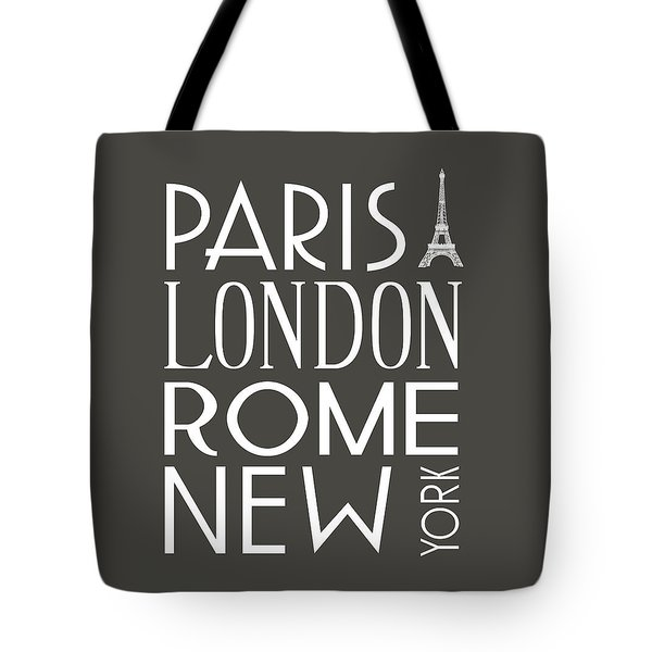 Tote Bag featuring the digital art Paris, London, Rome And New York Pillow by Jaime Friedman