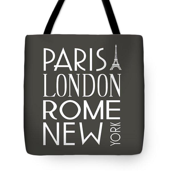 Paris, London, Rome And New York Pillow Tote Bag