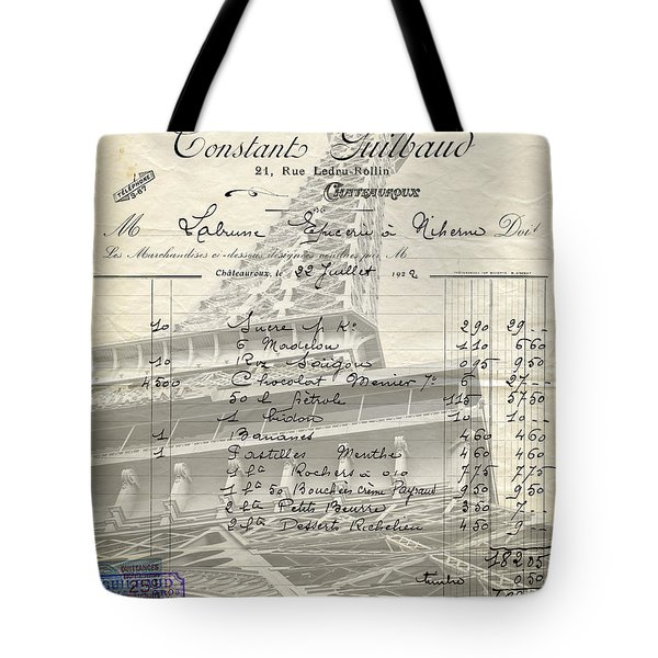 Paris Love Chocolate Wine Tote Bag by Edward Fielding